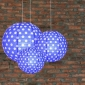 3 pack Dark blue polka paper lanterns cluster