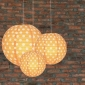 3 pack Orange polka paper lanterns cluster