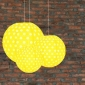 3 pack Yellow polka paper lanterns cluster