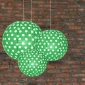 3 pack Grass Green polka paper lanterns cluster