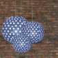 3 pack Navy blue polka paper lanterns cluster