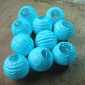 3.5Inch Even Ribbing baby blue Paper Lanterns(10 of pack)