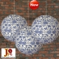 "3pack 12"" Blue and white porcelain Paper Lanterns"