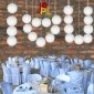 8 Inch Even Ribbing White Paper Lanterns