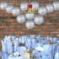 8 Inch Even Ribbing Silver Paper Lanterns