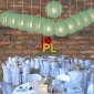 8 Inch Even Ribbing Sage Paper Lanterns