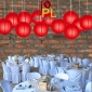 8 Inch Even Ribbing Red Paper Lanterns