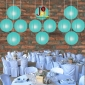 8 Inch Even Ribbing Water Blue Paper Lanterns