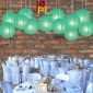 8 Inch Even Ribbing Teal Paper Lanterns