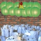 8 Inch Even Ribbing Grass Green Paper Lanterns
