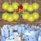 8 Inch Even Ribbing Chartreuse Paper Lanterns