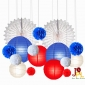Wholesale Assorted paper lanterns pompoms and fans-10X16pk
