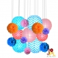 Wholesale Assorted polka dot w/chevron paper lanterns pom poms