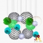 Assorted polka dot w/chevron paper lanterns pom poms-16pak