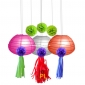 12pcs Fish Tank paper lanterns with pom poms & tassel garlands