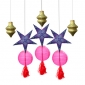 Gold Beehive lanterns with star and tassels assorted