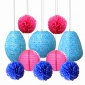 Patterned paper lanterns with dot pom poms assorted
