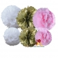 6-set Tissue pom poms for gold white