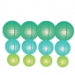 12pack in 3 Size paper lanterns-Teal-tiffany-light lime