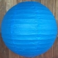 16 Inch Even Ribbing Blue Paper Lanterns