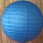 16 Inch Even Ribbing Sea Blue Paper Lanterns