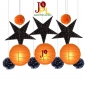 12pcs Halloween paper star with paper pom poms Assorted