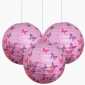 "3pack 12"" Pink Betterfly patterned paper lanterns"