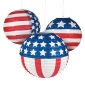"3pck 12"" Flag Patterned Paper Lanterns"
