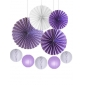 9pcsPaper Fan with Lanterns kit purple
