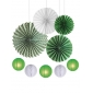 9pcsPaper Fan with Lanterns kit green
