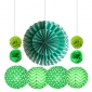 wholesale hanging paper fan decorations teal -green(50 sets)