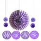 11pcs hanging paper fan light purple decorations