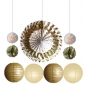 11pcs hanging paper fan Gold decorations