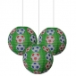 "3pack 12"" Colored Football patterned paper lantern"