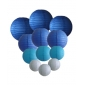 colors & sizes combination paper lanterns-blue