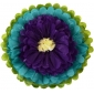 "18"" Paper Tissue Flower -Teal purple ivory"